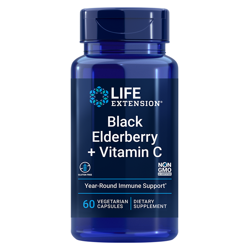 Life Extension supplement Black Elderberry + Vitamin C, 60 vegetarian capsules for daily support of the immune system
