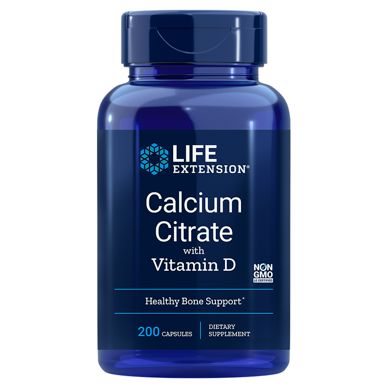 Calcium Citrate with Vitamin D | 200 capsule vegetariane