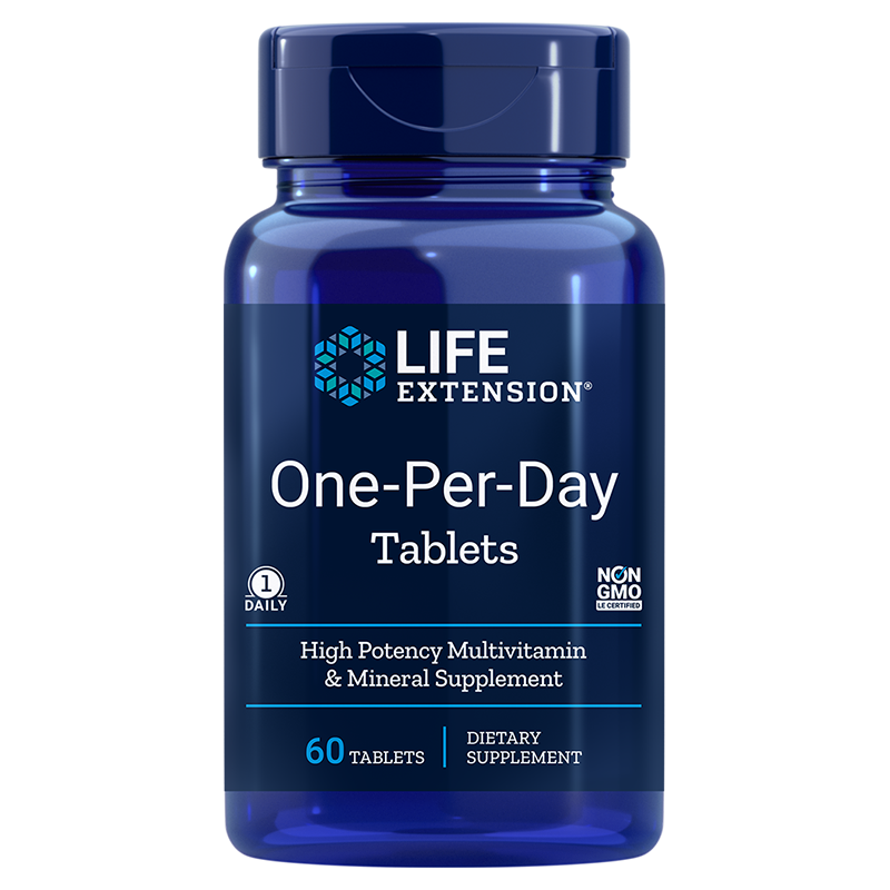 Life Extension bestselling multivitamin One-Per-Day, 60 tablets for essential needs of vitamins, minerals, antioxidants