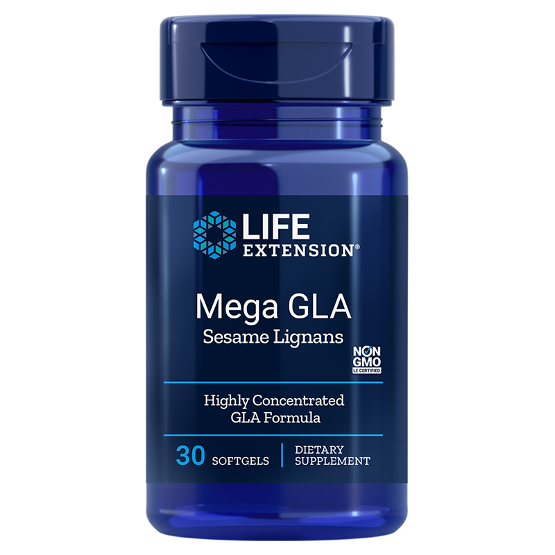 Life Extension supplement Mega GLA Sesame Lignans, 30 softgels to inhibit inflammatory factors
