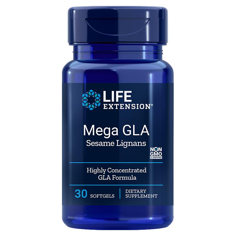 Life Extension supplement Mega GLA Sesame Lignans, 30 softgels to inhibit inflammatory factors