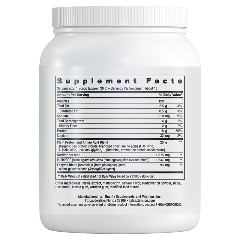 Life Extension 450 g powder of Wellness Code® Plant Protein Complete & Amino Acid Complex, supplement facts