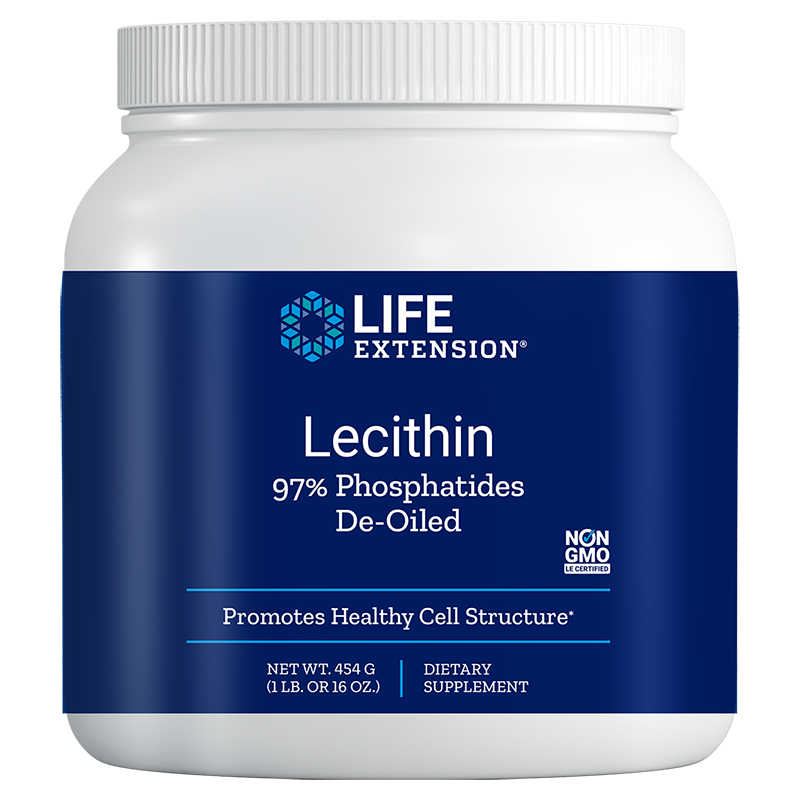 Life Extension Lecithin 97% Phosphatides de-oiled, 454 g powder to promote healthy cell structure