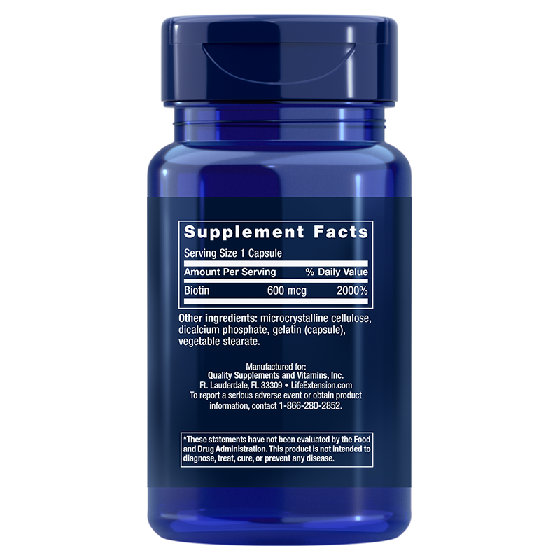 Life Extension Biotin, supplement info