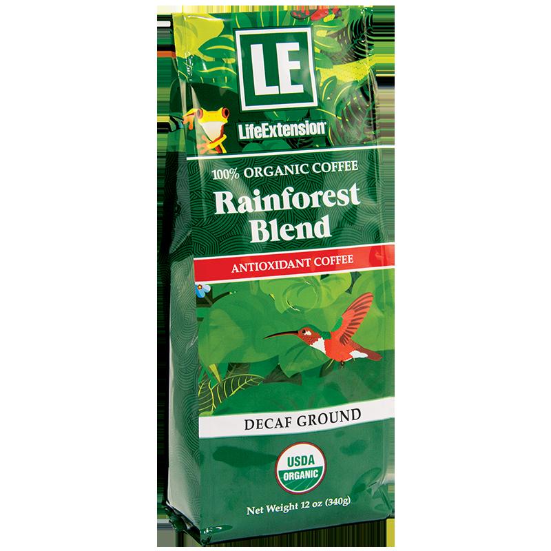 Life Extension Rainforest Blend Decaf Ground Coffee, 340 g powder of 100 % certified organic Arabica bean coffee