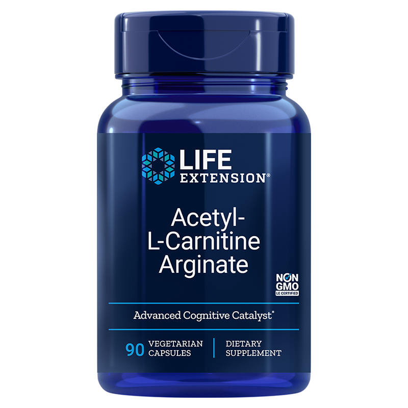 Life Extension Acetyl-L-Carnitine Arginate, 90 Vegetarian Capsules to support cellular energy production and brain health