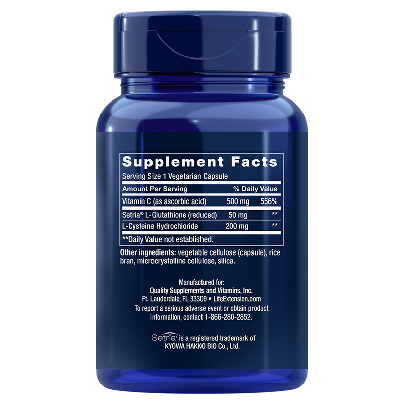Life Extension 100 capsules of Glutathione, Cysteine & C, supplement facts