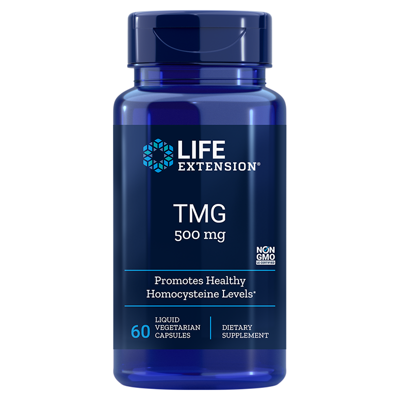 Life Extension supplement, TMG, 500 mg 60 liquid vegetarian capsules to promote a healthy heart