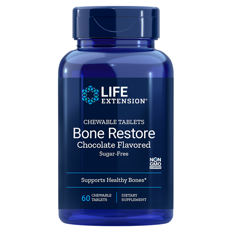 Life Extension Bone Restore Chocolate, supplement for strong bones in 60 chocolate flavored chewable tablets