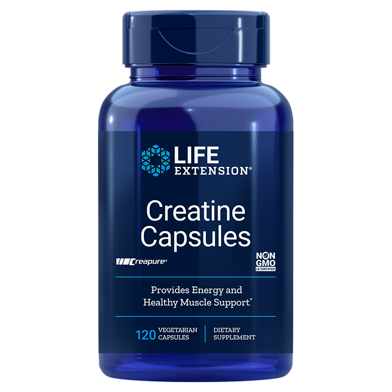Life Extension Creatine Capsules, 120 vegetarian capsules to build strength and endurance