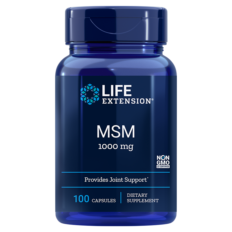 Life Extension supplement MSM, 1000 mg 100 capsules to support normal joint health and mobility