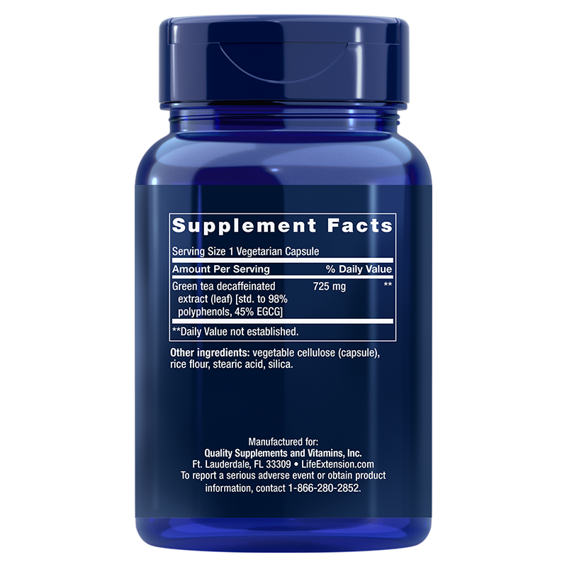 Life Extension Decaffeinated Mega Green Tea Extract, supplement facts