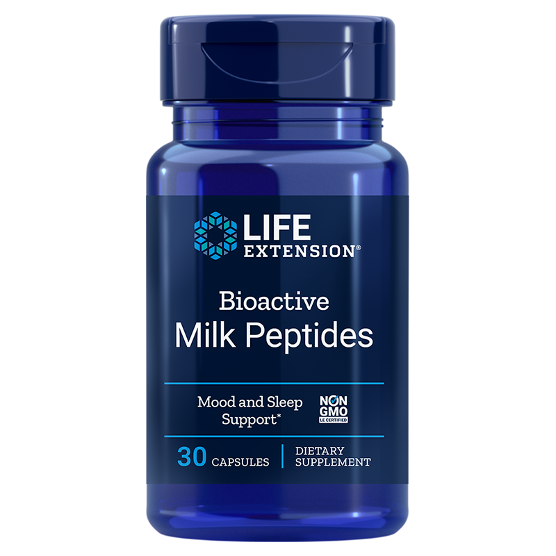 Life Extension supplement Bioactive Milk Peptides, 30 capsules to promote relaxation