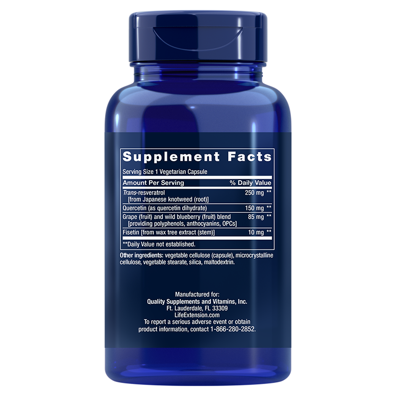 Life Extension Optimized Resveratrol, supplement facts