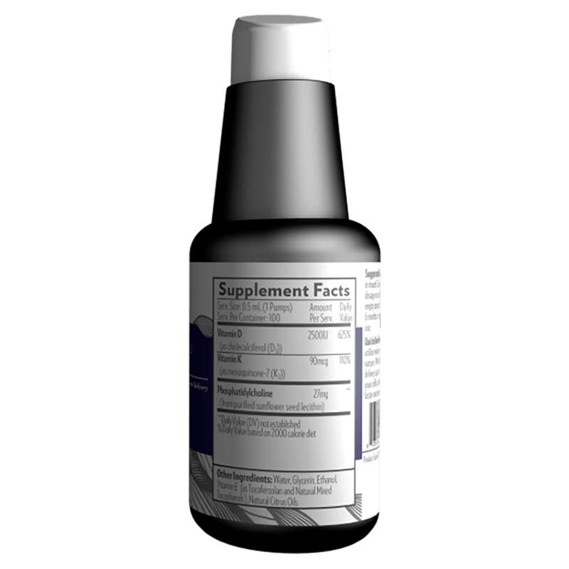 Life Extension Nanoemulsified D3K2 in 50 ml of super absorbable advanced vitamin D & K, supplement facts