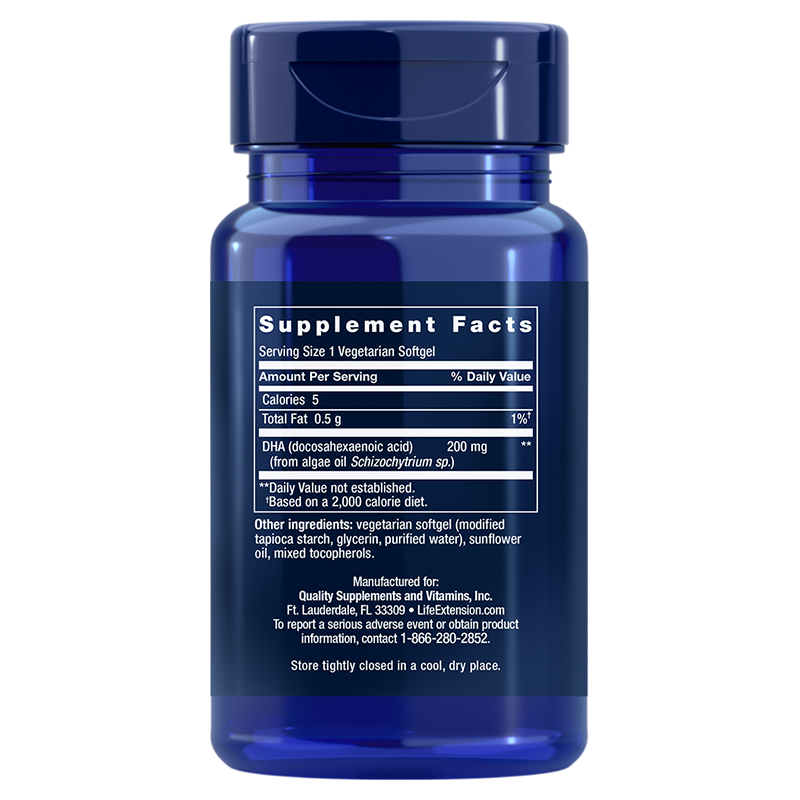 Life Extension Vegetarian DHA, supplement facts