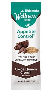 Life Extension Wellness Code® Appetite Control Bar, 59 g delicious cocoa-flavored bar to help inhibit food cravings