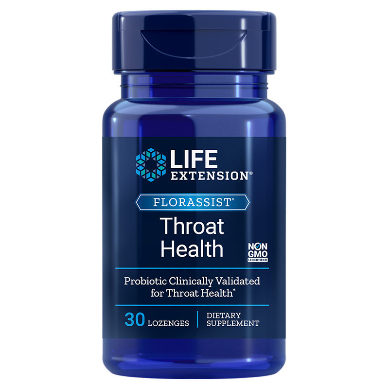Life Extension FLORASSIST® Throat Health, 30 lozenges for powerful probiotic defense for your throat