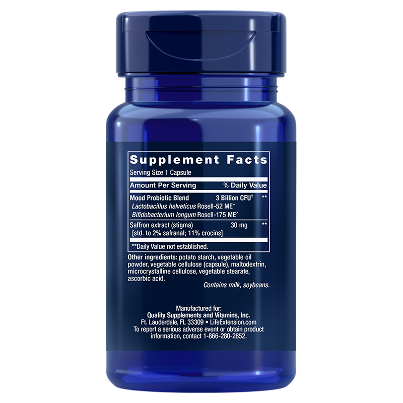 Life Extension FLORASSIST® Mood Improve in 30 capsules, supplement facts
