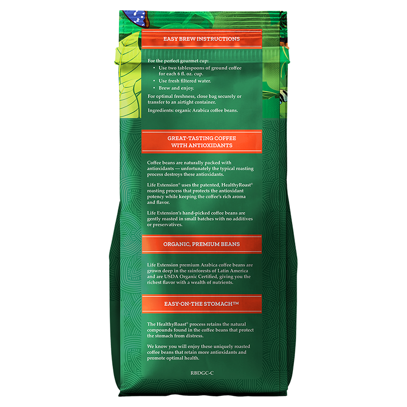Life Extension Rich Rewards® Breakfast Blend in 340 g of 100 % certified organic arabica bean coffee, facts