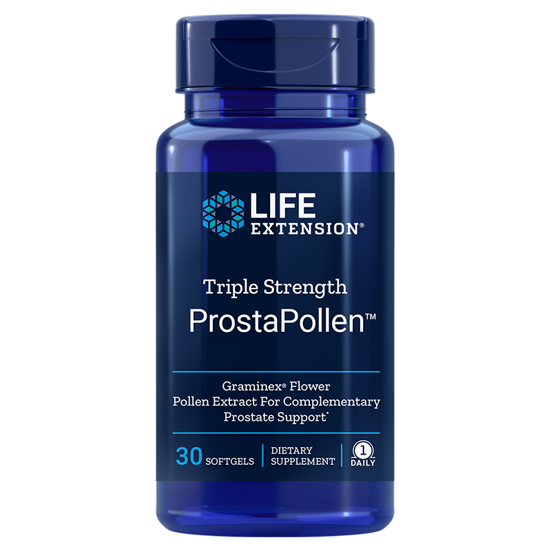 Life Extension Triple Strength ProstaPollen, 30 softgels to protect your prostate and maintain its healthy function