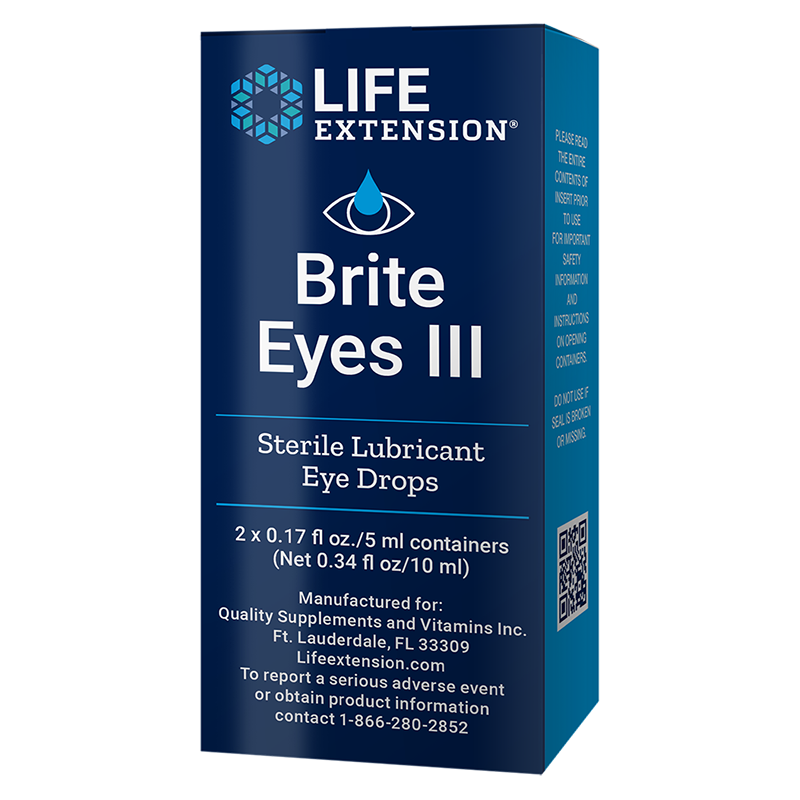 Life Extension Brite Eyes III, 10 ml 2 vials of sterile, lubricant drops to support eye comfort