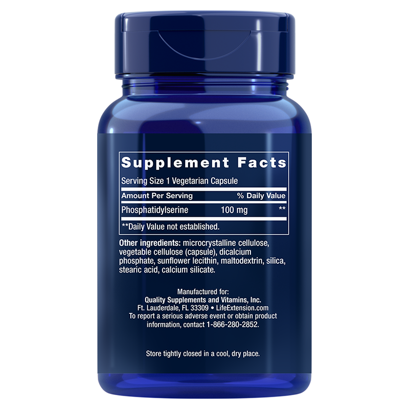 Life Extension PS Caps, 100 mg 100 vegetarian capsules supplement facts