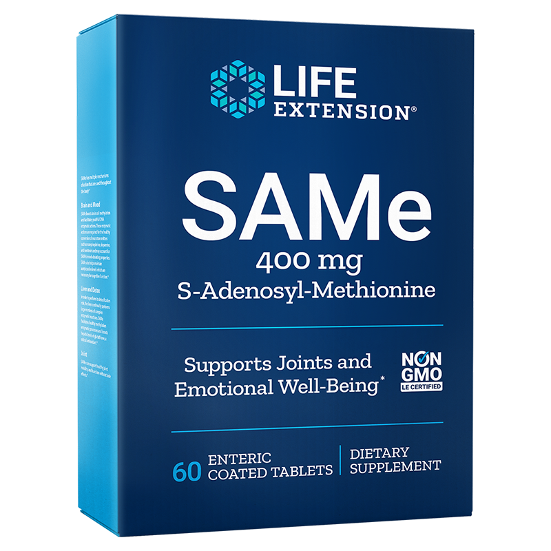 Life Extension SAMe, 400 mg 60 enteric coated tablets for mood, joint & liver support