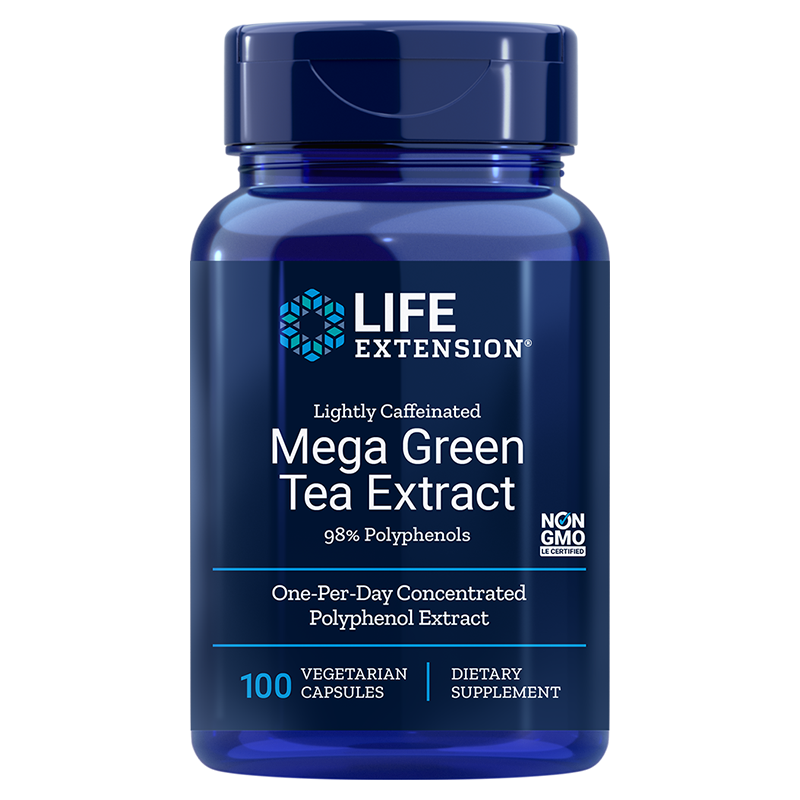 Life Extension Lightly Caffeinated Mega Green Tea Extract, 725 mg 100 vegetarian capsules for many health benefits