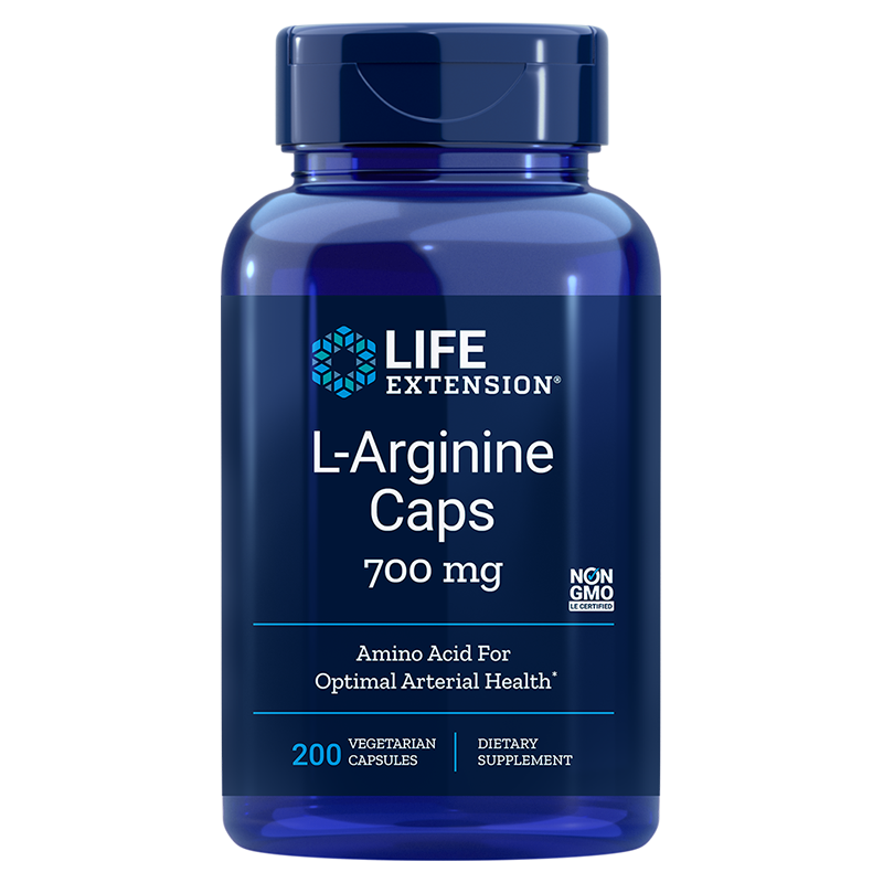 Life Extension L-Arginine Caps, 700 mg 200 vegetarian capsules of amino acid for optimal arterial health