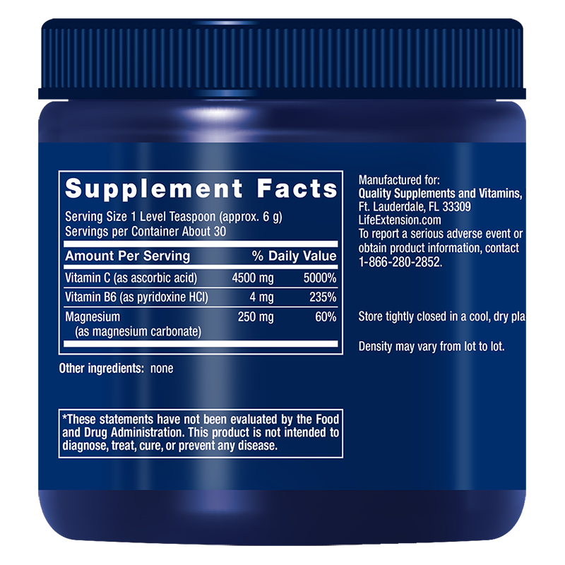 Life Extension Effervescent Vitamin C Magnesium Crystals in 180 g, supplement facts