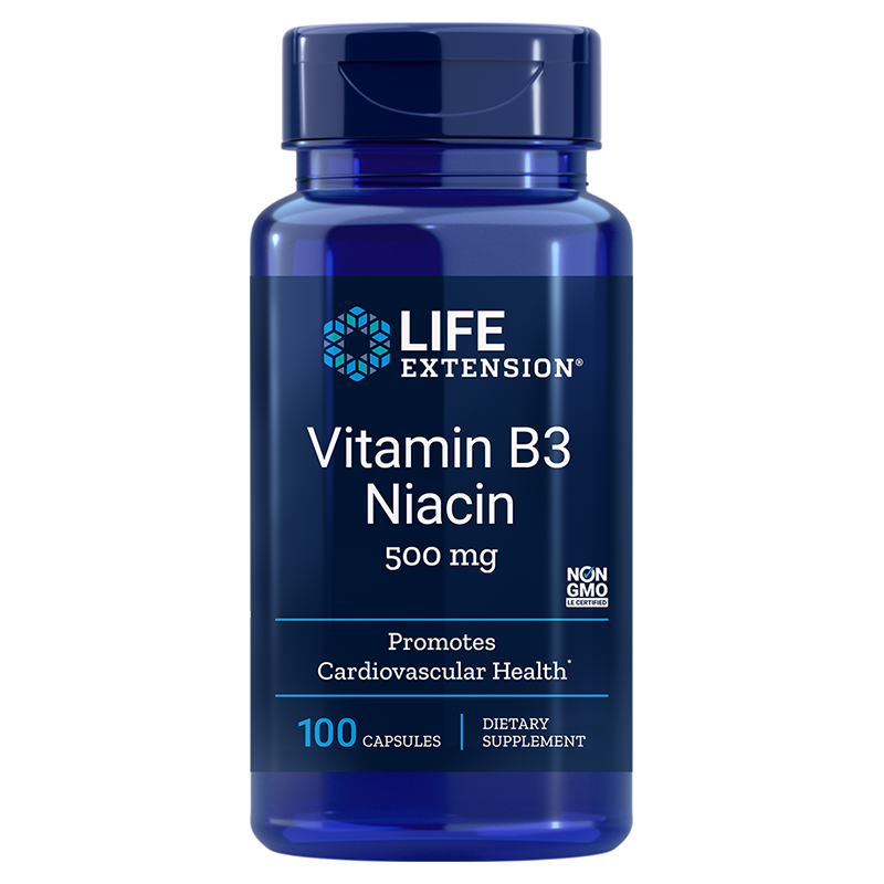 Life Extension supplement Vitamin B3, 500 mg 100 capsules, nacin support for energy conversion from food