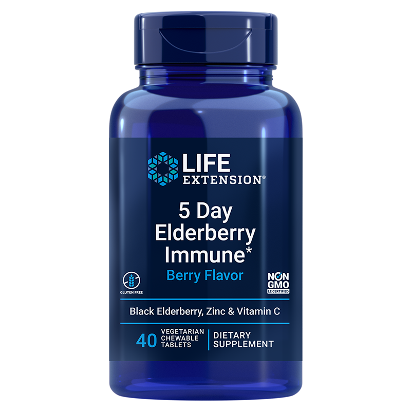 Life Extension 5 Day Elderberry Immune 40 chewable tablets for concentrated short term immune response support