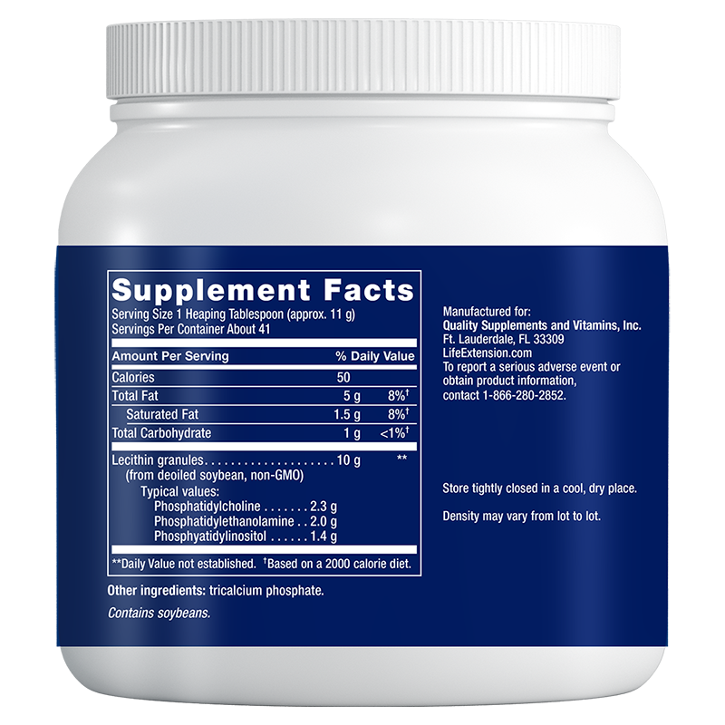 Life Extension Lecithin 97% Phosphatides de-oiled, supplement facts