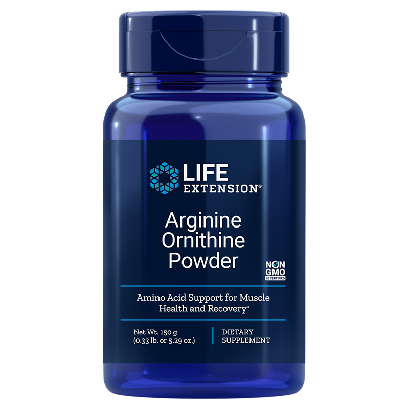 Life Extension supplement Arginine Ornithine Powder, 150 g to promotes muscle health & recovery