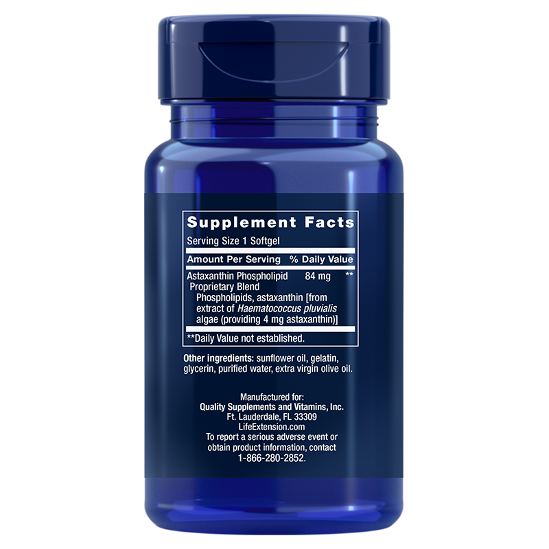Life Extension Astaxanthin with Phospholipids, supplement info