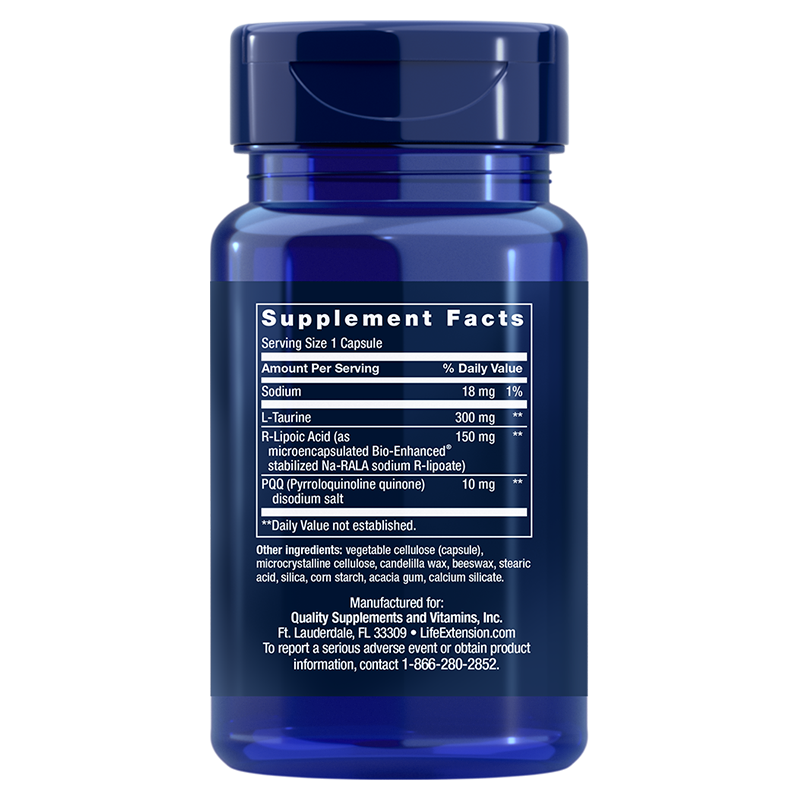 Life Extension 30 capsules of Mitochondrial Basics with PQQ, supplement facts
