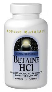 Life Extension supplement Betaine HCl, 90 tablets for digestive support