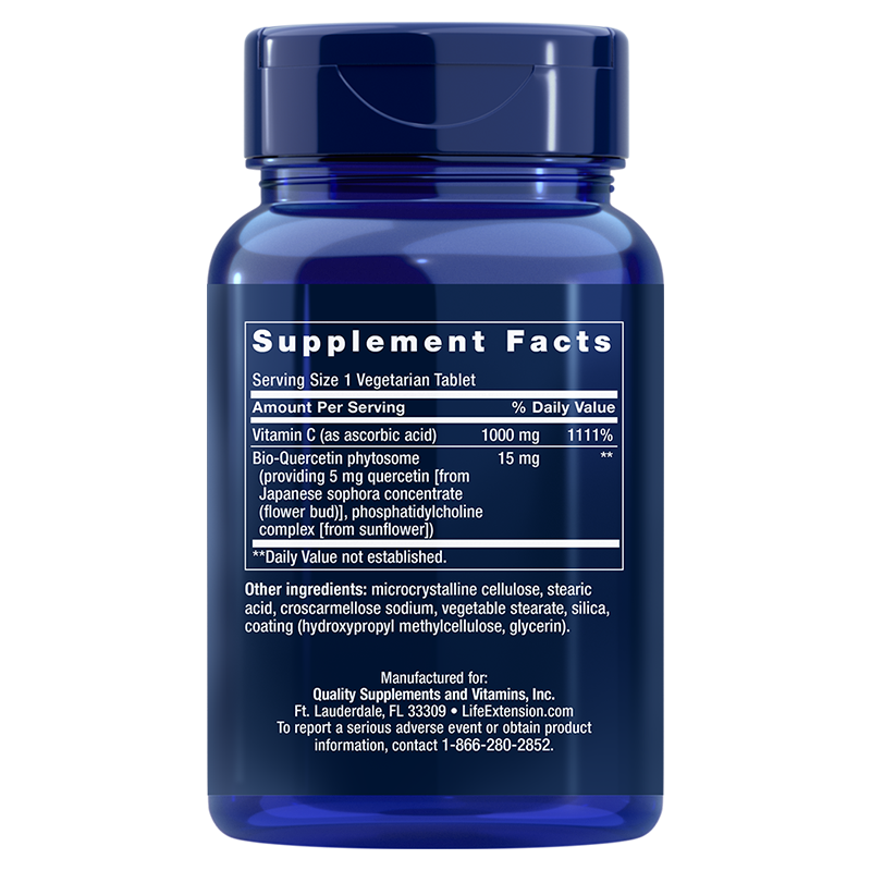 Life Extension Vitamin C and Bio-Quercetin Phytosome, supplement facts