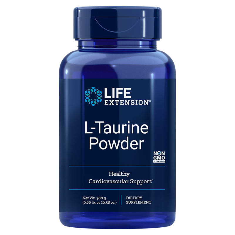Life Extension 300 gram supplement L-Taurine Powder, supports cardiovascular health