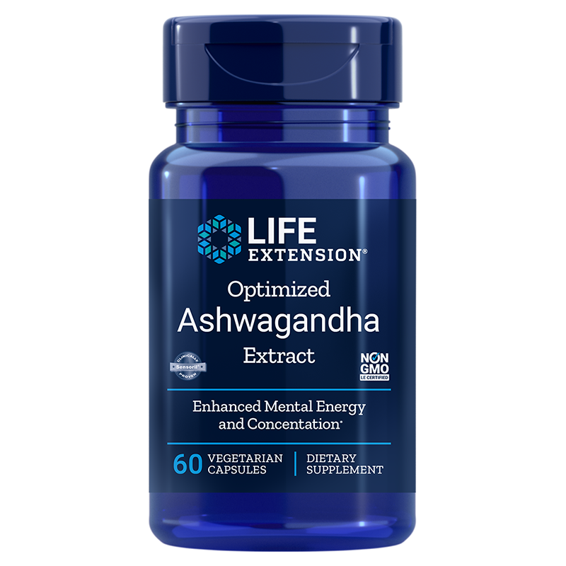Life Extension Optimized Ashwagandha Extract, 60 vegetarian capsules for stress management and brain cell protection