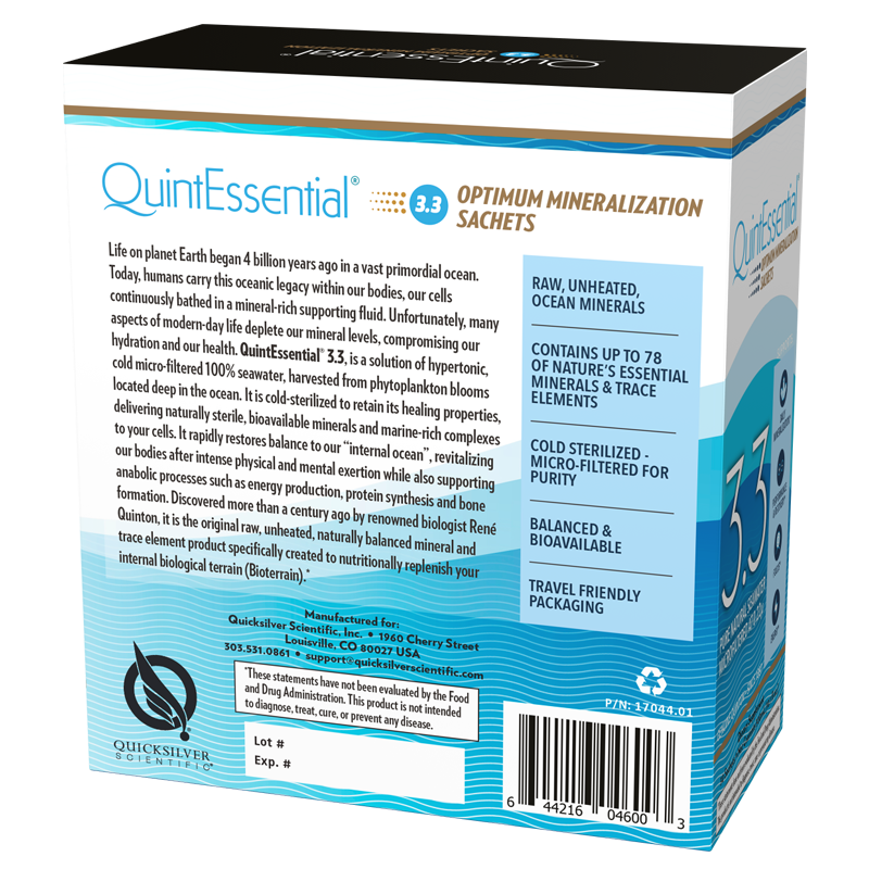 Life Extension 30 sachets of QuintEssential® Hypertonic Elixir 3.3, supplement facts