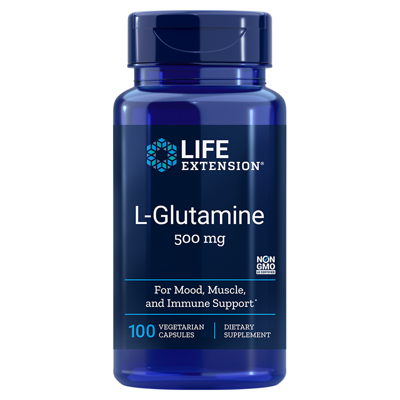 Life Extension supplement EL-Glutamine, 500 mg 100 capsules to pump up energy & immunity