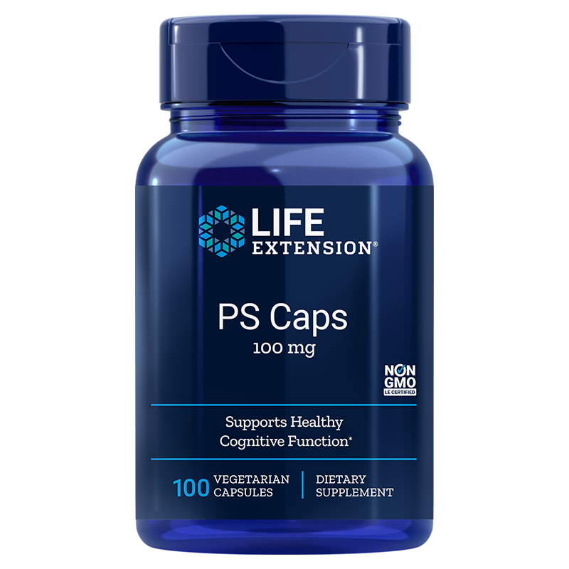 Life Extension PS Caps, 100 mg 100 vegetarian capsules to support healthy cognitive function