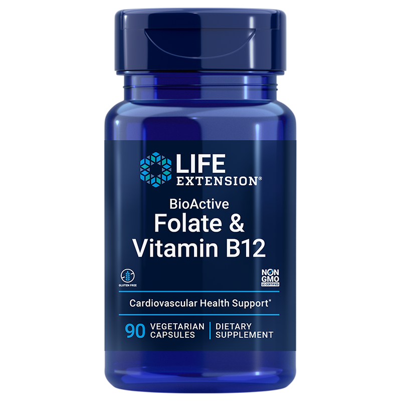 Life Extension BioActive Folate & Vitamin B12, 90 vegetarian for heart and brain health