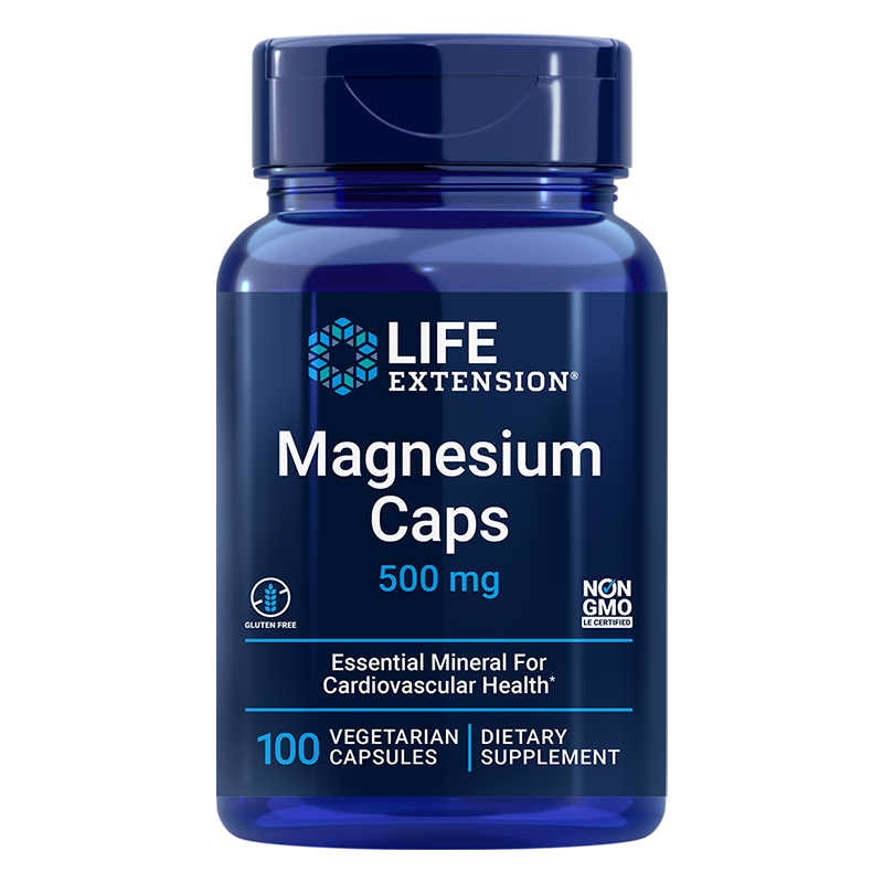Life Extension Magnesium Caps, 500 mg 100 vegetarian capsules of essential mineral for whole body health