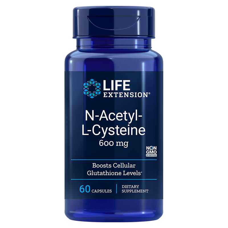 Life Extension N-Acetyl-L-Cysteine, 600 mg 60 capsules of antioxidant for liver-, immune- and respiratory health