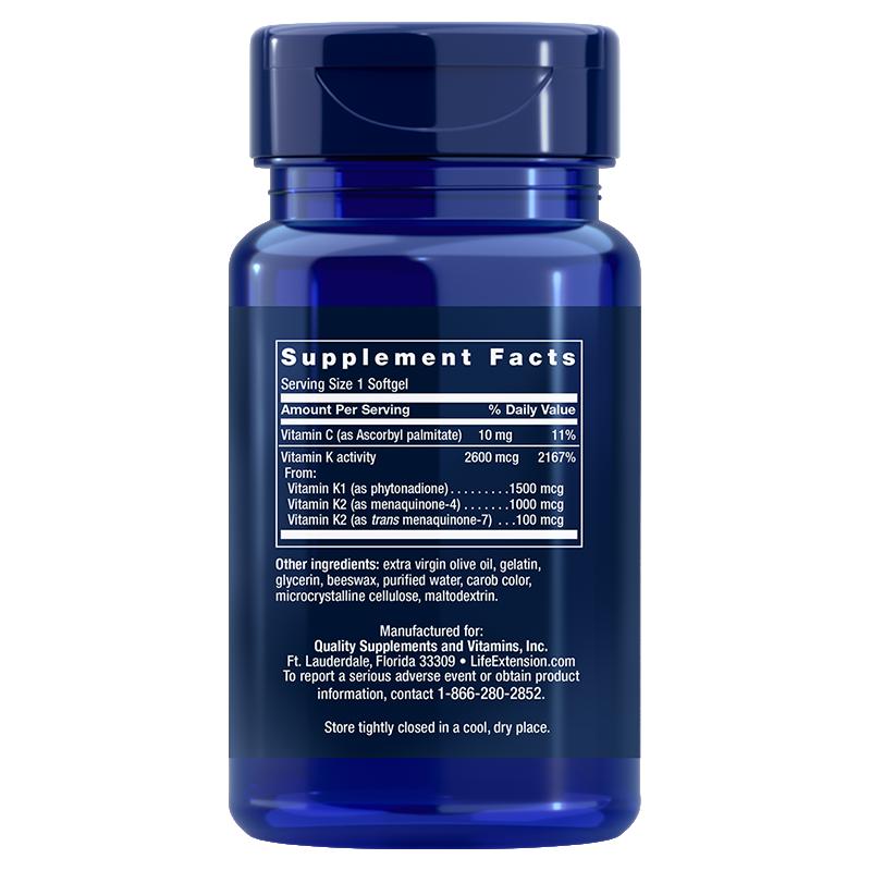 Life Extension Super K vitamins, supplement facts