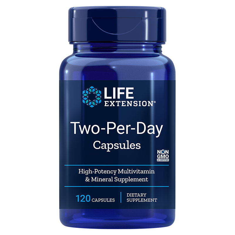 Life Extension Two-Per-Day 120 capsules for essential needs of quality vitamins, minerals, antioxidants for good health