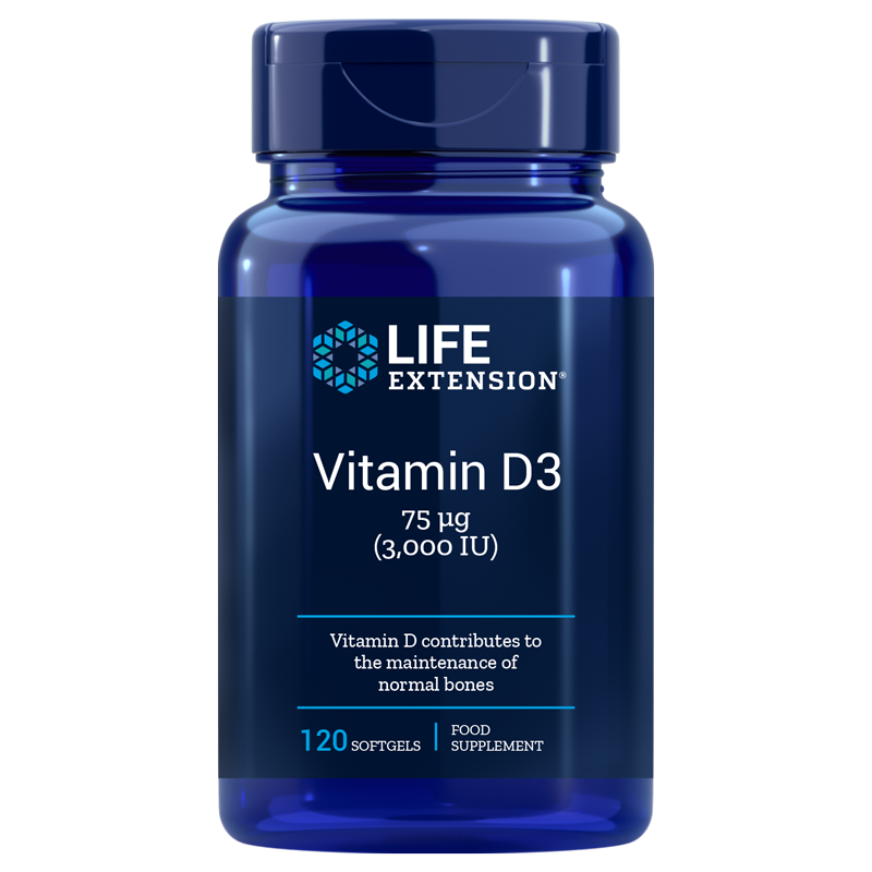 Life Extension supplement Vitamin D3, 75 mcg (3000 IU) 120 softgels for bone health and immune system